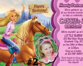20 Printed Barbie Cowgirl Western Photo Birthday Party Invitations Personalized (includes envelopes)