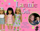 American Girl Doll Photo Birthday Party Invitation You Print (digital file)