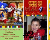 20 Printed Sonic the Hedgehog Photo Birthday Party Invitation Personalized (with Envelopes)