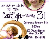 20 Printed Tangled Rapunzel Photo Birthday Invitation (with Envelopes)