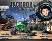 Monster Truck Jam Grave Digger Destruction Photo Birthday Party Invitation Personalized You Print Digital File