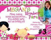 20 Printed Slumber Party Photo Birthday Invitation Personalized (includes envelopes)