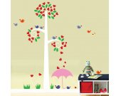 Childrens Tree Decal -  Wall Decal Birds Tree Hearts Reusable Removable  - T125SWA