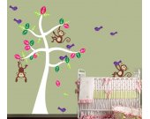 Wall Decal - Monkeys Tree Wall Decal - Childrens Resusable FABRIC Wall Decal  - T116SWA