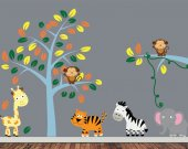 Childrens Jungle Wall Decal - Reusable Fabric Decal - J209SWA