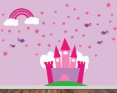 Wall Decal Princess Castle - Reusable Removable Childrens Wall Decal - EXTRA LARGE - SK300SWA