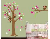 Childrens Tree Wall Decal - Monkey Tree Wall Decal -  Resusable FABRIC Wall Decal  - T117SWA