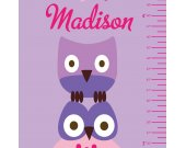 Owl Monogram Growth Chart REUSABLE REMOVABLE Fabric Wall Decal