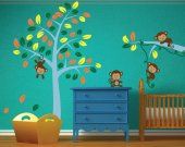 REUSABLE Tree Wall Decal - Monkeys Wall Decal - T110SWA
