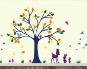 Childrens Tree Wall Decal - Reusable Removable  - T122SWA