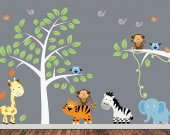 Childrens Jungle Wall Decal - Reusable Fabric Wall Decal - J211SWA