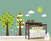 Wall Decals - Retro Tree Wall Decal - Childrens Reusable Removable Decal - T105SWA