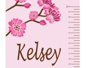 Cherry Blossoms Growth Chart REUSABLE REMOVABLE Fabric Wall Decal