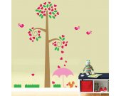 Tree Wall Decal - Childrens Wall Decals -  Birds Tree Hearts - Reusable Removable  - T109SWA
