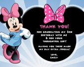 Minnie Mouse Thank You Card Personalized Birthday Digital File