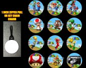 Super Mario Brothers Set of 12 Zipper Pulls - Make Great Party Favors