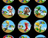 Super Mario Brothers Set of 12 2.5 Inch Round Personalized Stickers or Cupcake Toppers