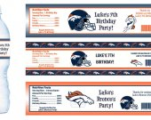 Denver Broncos Water Bottle Labels - PRINTED FOR YOU - Birthday Party Supplies Favors Football