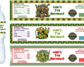 Teenage Mutant Ninja Turtles Water Bottle Labels - PRINTED FOR YOU - Birthday Party Supplies Favors