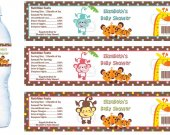 Monkey Animals Jungle Water Bottle Labels - PRINTED FOR YOU - Baby Shower Supplies Favors