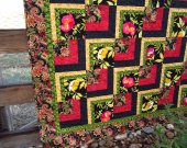 Handmade Quilt Bold Floral, Quilted Throw, Quilts, Patchwork Quilt, Geometric
