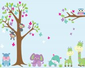 Jungle Animals Wall Decal REUSABLE Wall Decal 805