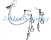 Double Piercing Silver Star Wing Feather Ear Cuff Set