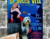 Bearded Collie Vintage PRINT POSTER Canvas Print - La dolce vita Movie Poster
