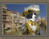 Border Collie Art Print CANVAS print 12x16 by Nobility Dogs - Casanova in Venice