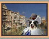 Border Collie Art Print CANVAS print 12x16 by Nobility Dogs - The Grand Canal, Venice