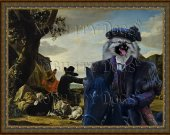 Keeshond Art Print CANVAS print 12x16 by Nobility Dogs -  Black horse rider