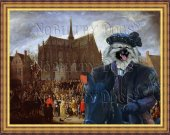 Keeshond Art Print CANVAS print 12x16 by Nobility Dogs - Arrival at the church celebration