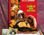 English Toy Spaniel Vintage Movie Style Poster Canvas Print  - The Flame of New Orleans NEW Collection