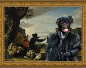 Labrador Retriever Art Print CANVAS print 12x16 by Nobility Dogs - The Black Duke