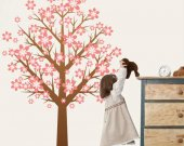 Nursery Wall Art - Tree with pink flowers decal for housewares