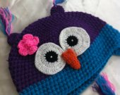 toddler  owl hat size 3 years to 6