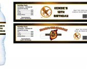 The Hunger Games Water Bottle Labels - PRINTED FOR YOU - Birthday Party Supplies Favors