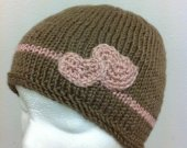 Knitting Hat - Teen or Adult  Hat in brown and Pink - PERFECT for Valentine's Day