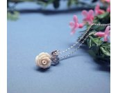 Delicate Ivory Rose Jasper with tiny leaf Necklace
