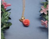 Delicate Coral Orange Rose Jasper with tiny leaf Necklace