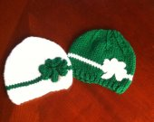 "3 to 24 months shamrock baby hat/ st patrick""s baby hat  pick your sizes"