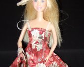 Barbie Sundress, Raffia Sunhat and purse set