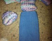 Barbie Pastels Sweater, Hat and Jeans skirt