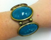 Vintage Stretch Bracelet, Big bracelet , Green Oval Gold Tone Bracelet,