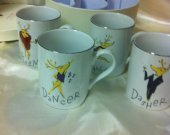Pottery Barn Reindeer Mugs Set of 4 Coffee Mugs Dasher, Dancer, Prancer, Vix