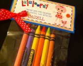Set of 8 Lalaloopsy Personalized Birthday Party Favor bag with crayons