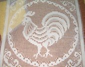 FABRIC LACE SQUARE white rooster new 10 BY 10 INCHES