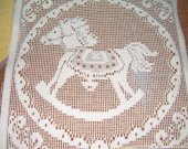 FABRIC SQUARE LACE rocking horse new 10 by 10 inches