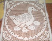 FABRIC LACE square duck and eggs 10 by 10 inches white new