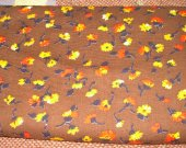 FABRIC COTTON brown yellow and orange flowers